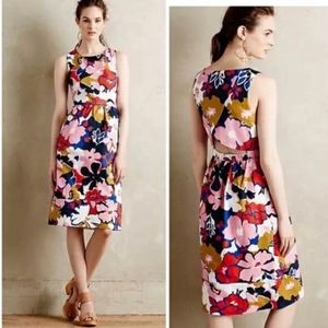 Anthropologie whit two petal print cross over back